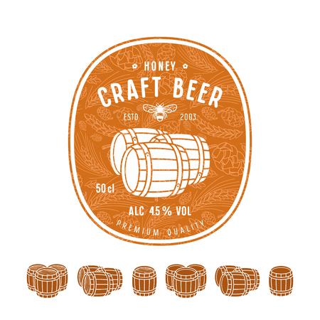 Honey beer label and design elements. Wooden barrels icons set