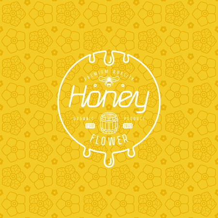 Label for honey and flower seamless pattern. White print on yellow pattern background