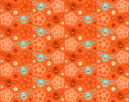 Seamless pattern with image of honey bee and flowers. Color print on orange background