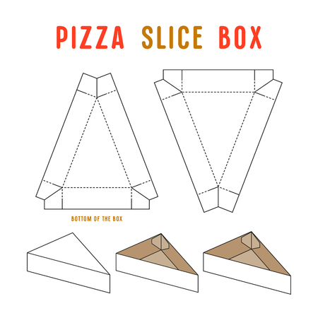 Stock vector box for pizza slice. Unwrapped and 3d image Illustration