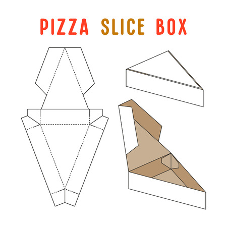 Stock vector box for pizza slice. Simple design. Unwrapped and 3d image