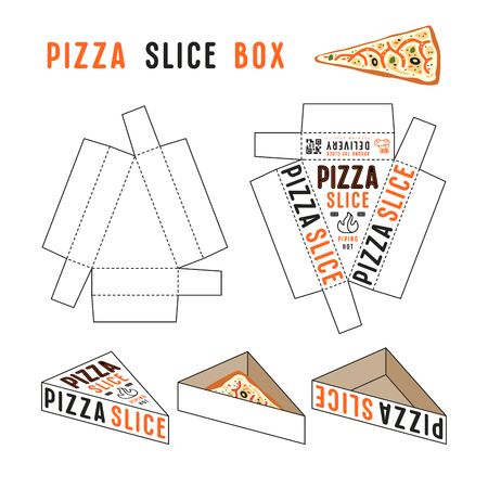 Stock vector design of box for pizza slice. Unwrapped box with layout elements and 3d presentation Illustration