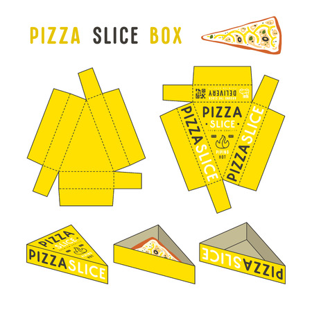 Stock vector design of box for pizza slice. Color unwrapped box with layout elements and 3d presentation