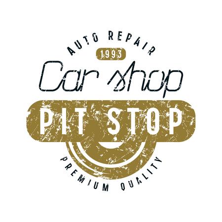 Car shop and pit stop emblem. Graphic design for t-shirt. Color print on white background Illustration