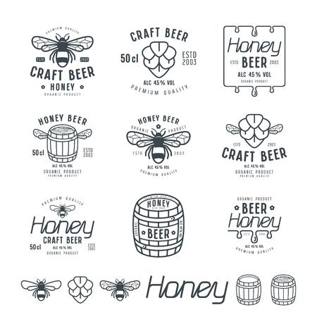 Set of honey beer labels, badges and design elements. Black print on white background Illustration