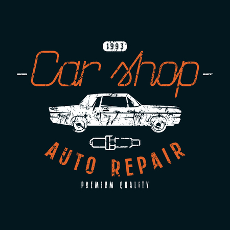 Car shop and repair emblem. Graphic design for t-shirt. Color print on black background