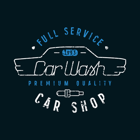 Car shop and wash emblem in thin line style. Graphic design for t-shirt. Color print on black background