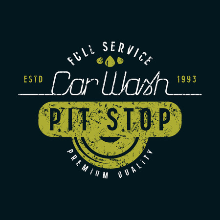 Car wash and pit stop emblem. Graphic design for t-shirt. Color print on black background