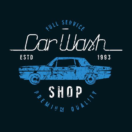 Car wash emblem. Graphic design for t-shirt. Color print on black background Ilustracja