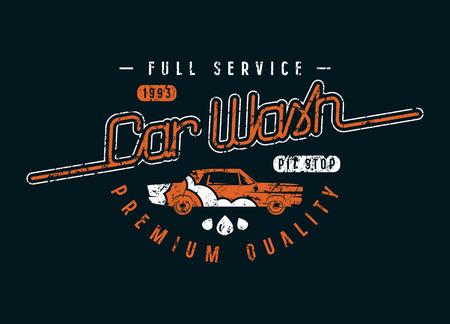 Emblème de lave-auto dans un style rétro. Conception graphique pour t-shirt. Impression couleur sur fond noir Banque d'images - 81565124