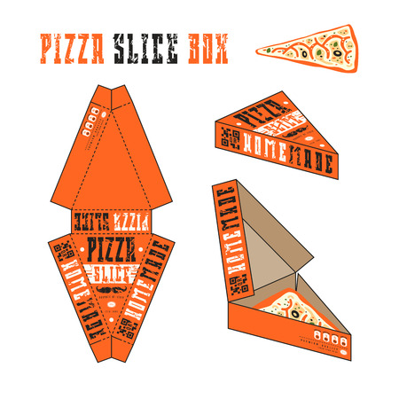 Design of box for pizza slice. Retro style. Orange unwrapped box with layout elements and 3d presentation Illustration