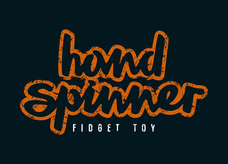 Handwritten emblem of hand spinner. Graphic design for t-shirt. Color print on black background