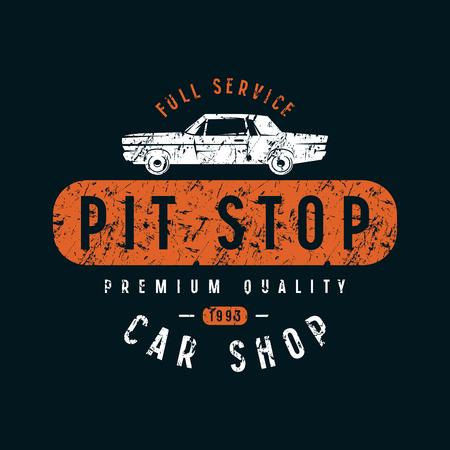 Pit stop emblem. Graphic design for t-shirt. Color print on black background 일러스트