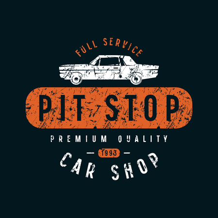 Pit stop emblem. Graphic design for t-shirt. Color print on black background Ilustrace