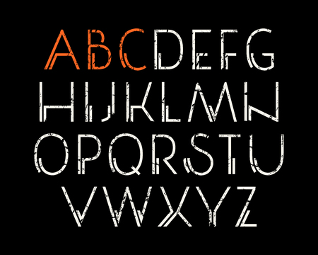 Decorative sanserif font. Letters with shabby texture. Print on black background