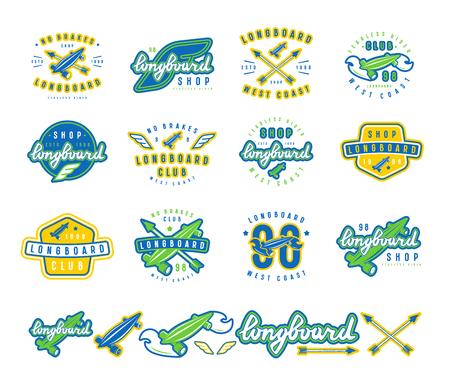 Typografisches Emblem Des Longboard-Clubs. Grafikdesign Für T-Shirt ...