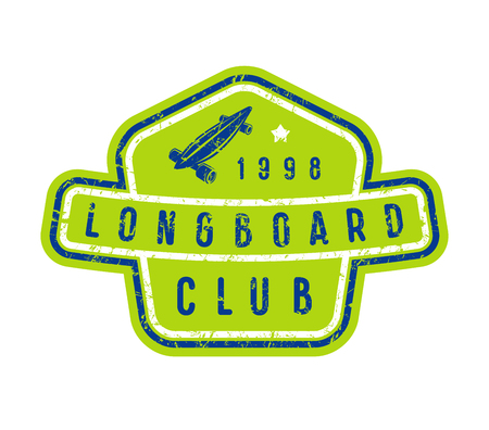Badge of longboard club. Graphic design for t-shirt and stickers. Color print on white background.