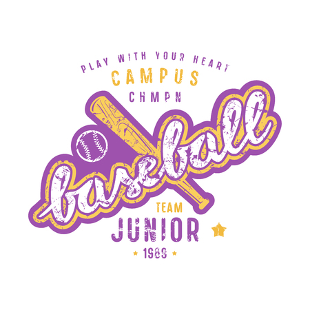 Emblem of baseball junior team. Graphic design with lettering for t-shirt. Color print on white background. Illustration
