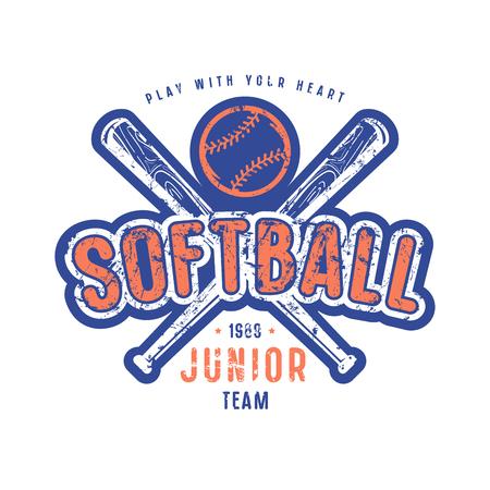 ソフトボール ジュニア チームのエンブレム。T シャツのグラフィック デザイン。色の白い背景の上に印刷します。