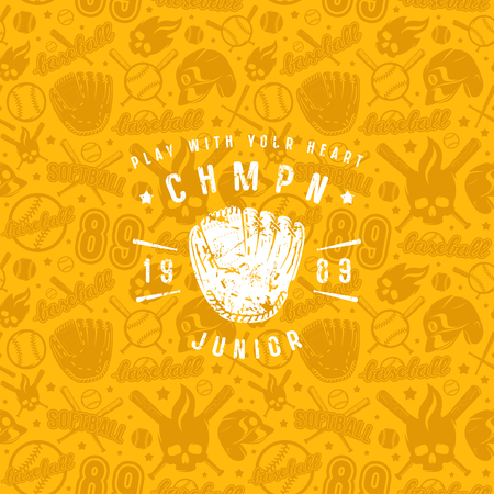 Baseball seamless pattern and championship emblem. Background of yellow color