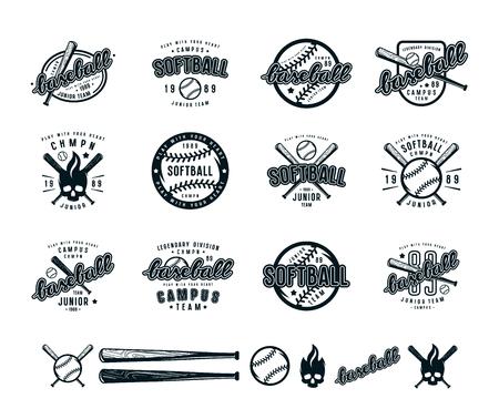 야구 및 소프트볼 배지 집합입니다. 티셔츠를위한 그래픽 디자인. 흰색 배경에 검은 색 인쇄