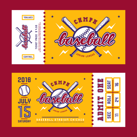 Template for baseball ticket. Graphic design with lettering Illustration