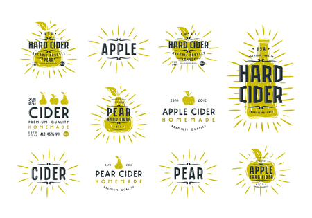 Set of hard cider labels Illustration