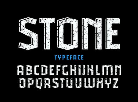 볼륨 및 거친 질감 효과 가진 장식 sanserif 글꼴. 로고 및 제목 디자인을위한 편지