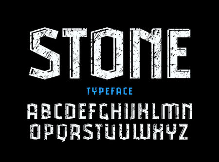 Decorative sanserif font with effect of volume and rough texture. Letters for logo and title design Çizim