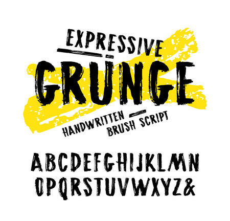 Vector handwritten brush font in grunge style. Letters design for logo and t-shirt. Print on white background Ilustração