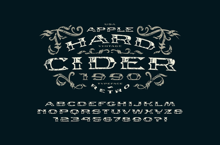 Decorative  serif extended font in retro style. Hard cider label. Letters and numbers with rough texture for icon, label and signboard design. Illustration