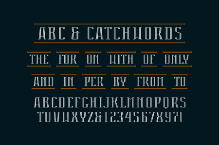 Decorative serif font and catchwords. Letters and numbers design for icon, label and title. Illustration