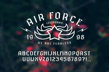 Stencil-plate sans serif font and air force emblem. Letters and numbers for logo and t-shirt design. Print on blurred background Illustration