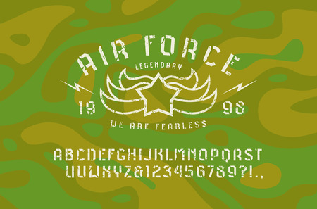 Stencil plate sans serif font and air force emblem. Letters and numbers with rough texture for logo and t-shirt design. Print on camouflage background Illustration