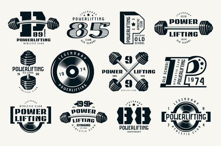 Power lifting emblems and badges.
