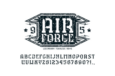 Stencil-plate serif font and air force emblem. Illustration