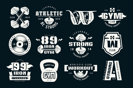 Gym club, fitness and workout badges and logo. Graphic design for t-shirt. White print on black background Logo