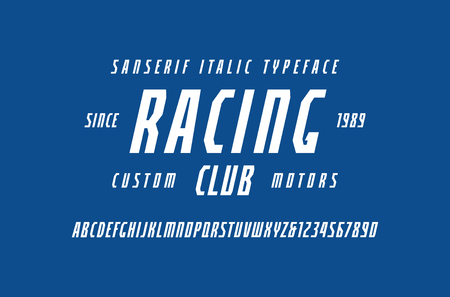 Narrow italic sans serif font in the sport style. Letters and numbers for logo and title design. White print on blue background