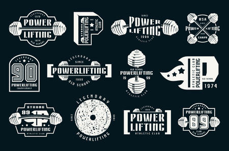 Powerlifting emblems and badges. Graphic design for t-shirt. White print on black background
