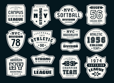 Set of emblems and patches in sport style. Softball, basketball and rugby themes. Graphic design for t-shirt. Print on black background Ilustração