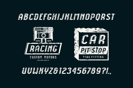 Decorative italic sans serif font in the sport style. Car races and service badges. Letters and numbers with rough texture for title design. White print on black background