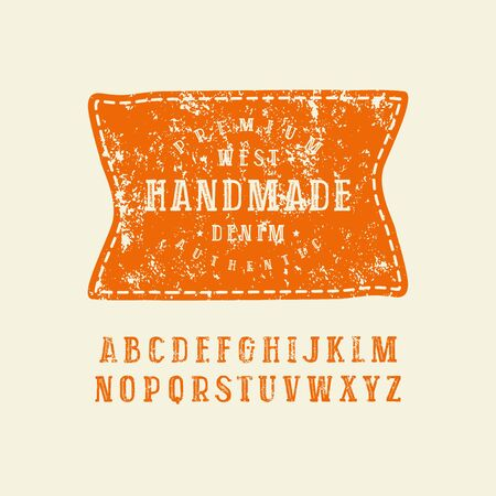 Serif font in the style of handmade graphics. Letters with rough texture. Patch with denim emblem. Orange print on light background. Illustration