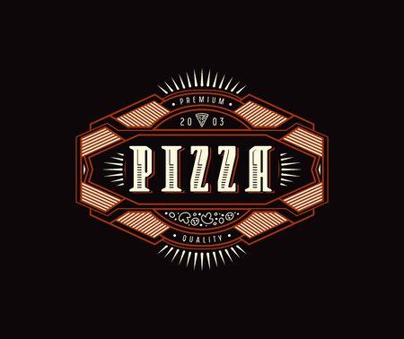 Label with vintage frame for logo, emblem, sticker design. Cover box for pizza. Color print on black background