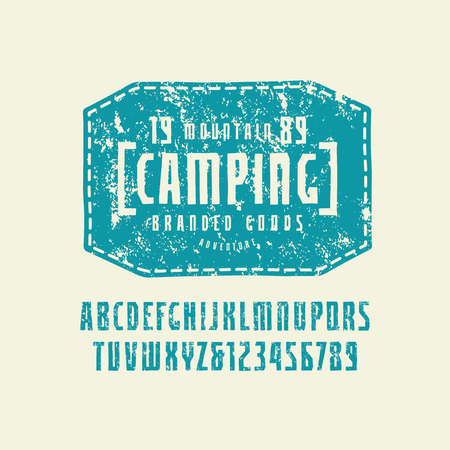 Narrow sans serif font in the style of handmade graphics. Letters with rough texture. Leather patch with camping emblem. Blue print on light background Ilustrace