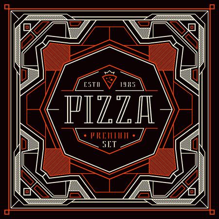 Stock vector design cover for pizza boxes. Vintage frame for logo, emblem and sticker. Color print on black background Illustration