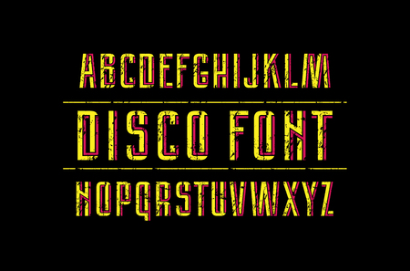 Decorative sans serif font with interweaving stripes. Letters with rough texture for logo and title design. Bright print on dark background