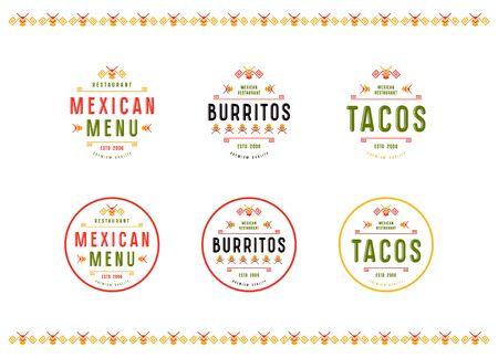 Set di etichetta, logo e badge per ristorante messicano. Stampa a colori su sfondo bianco