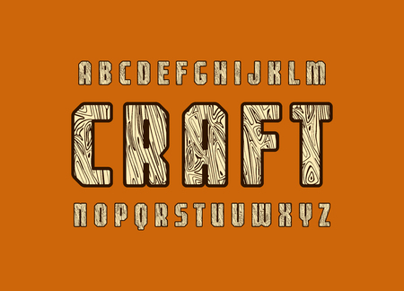 Geometric sans serif font with wooden texture. Letters for logo and emblem design. Color print on brown background