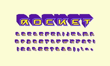 Decorative sans serif extra bulk font in futuristic style. Letters and numbers for sci-fi, military, cosmic icon and title design. Color print on light background.