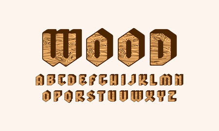 Geometric sans serif bulk font with wooden texture. Letters for icon and emblem design. Color print on light background.